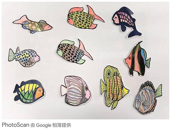伊甸三峽北大公共托老服務中心的服務使用者所繪畫的色彩繽紛的魚