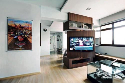 edHOUSE 機能櫥櫃 輕裝修 輕裝修設計 系統櫃 系統板材 裝潢設計 系統家具 客製化 收納 客廳 系統家具 設計重點 旋轉電視支架 系統櫃設計 國際案例