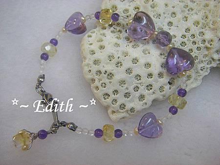 紫水晶蝴蝶結手鍊~黃水晶