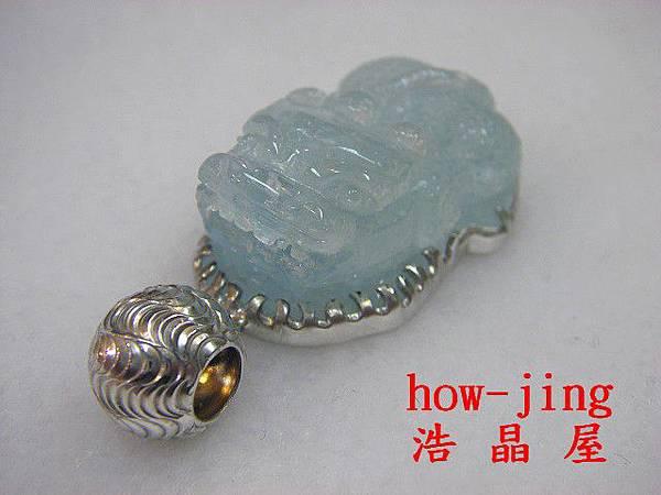 海水藍寶精雕貔貅銀墜