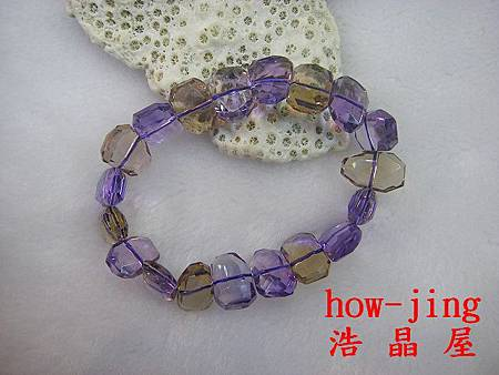 紫黃晶近全美不定形手珠