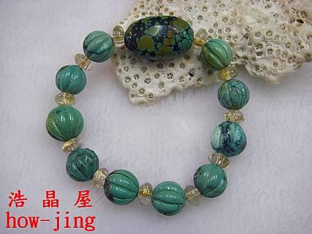 綠松石金瓜手珠~鈦晶.JPG