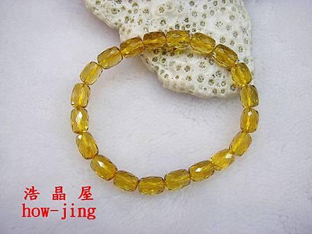 黃水晶近全美桶形鑽切手珠