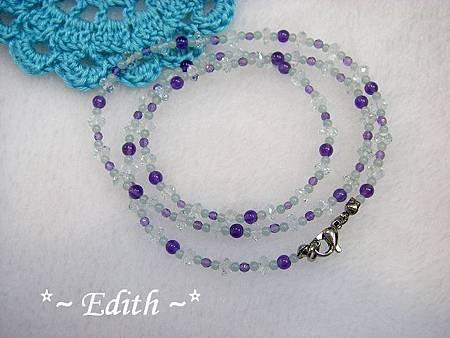 海水藍寶3圈式手鍊~紫水晶
