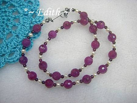 紅寶石雙圈手鍊~珍珠