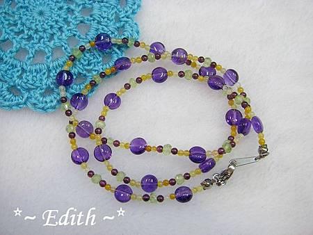 紫水晶曼陀珠3圈式手鍊~葡萄石