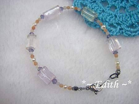 紫鋰輝石手鍊~珍珠