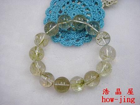 綠碧璽髮晶17mm手珠