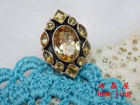 黃水晶純銀戒