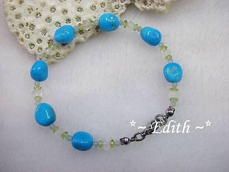 睡美人綠松石手鍊~藍暈月光石
