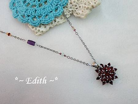 紫水晶側鍊~石榴石純銀墜