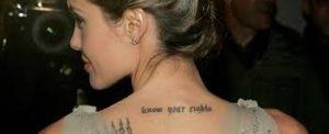 安吉麗娜朱莉&羅比威廉姆斯紋身 - 最受歡迎的名人紋身設計