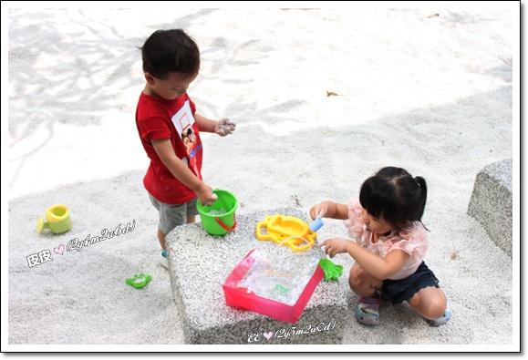 玩沙子有葉子倒影.jpg