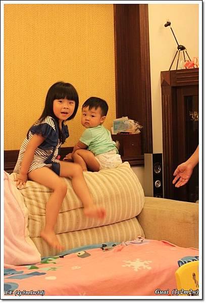 兩隻爬沙發的小娃