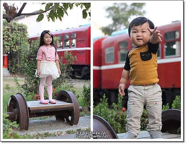 姐弟倆站輪子造型椅上.jpg