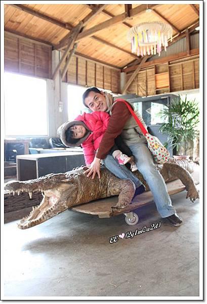 父女坐鱷魚標本.JPG