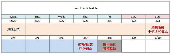 Preorder Schedule