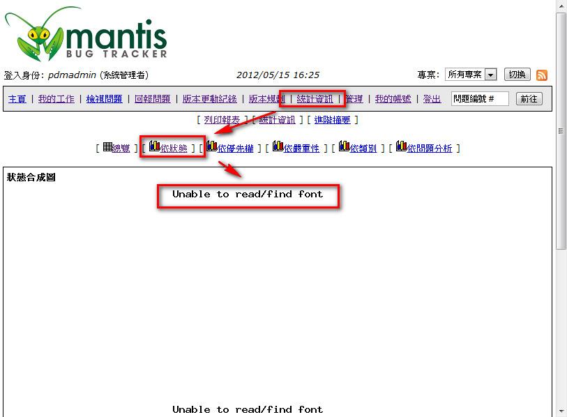 Mantis font error