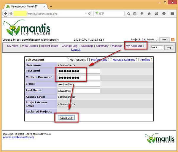 Mantis Change Admin PWD