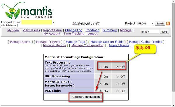 Mantis Turn Off Text Processing