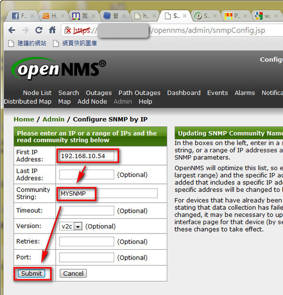 Configure SNMP on OpenNMS