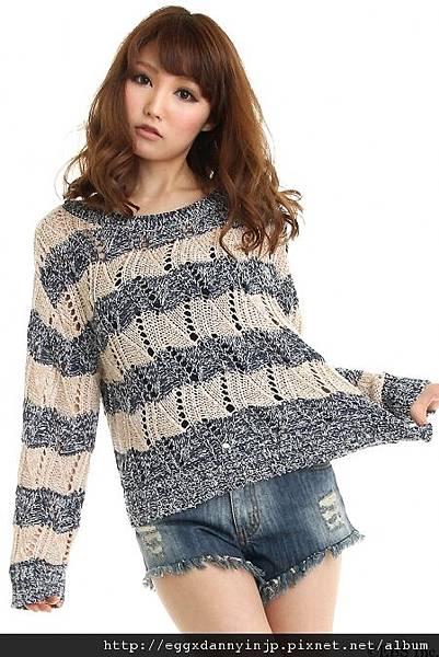 2012春裝~ViVi雜誌刊登款~LagunaMoon洞洞條紋針織衫(日本大阪在地代買、代購、代標-Egg X Danny in jp)