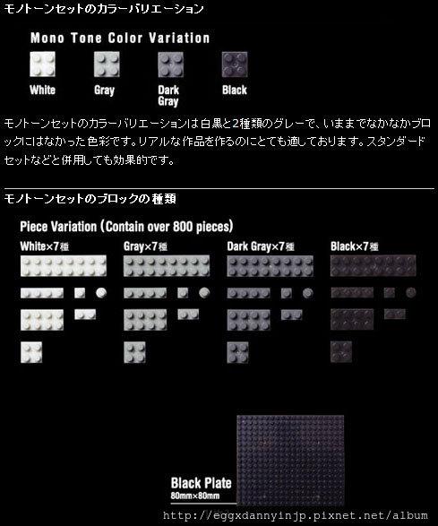 nano block小積木-標準積木組(黑白灰色系)