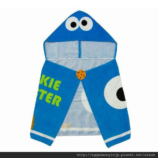 芝麻街cookie monster浴巾付帽子