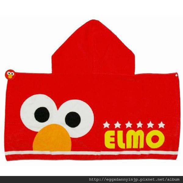 芝麻街elmo浴巾付帽子