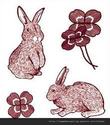 日本兔子幸運草水晶印章260
