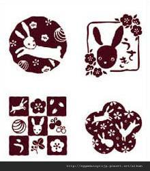 日本和風兔子卡片水晶印章260