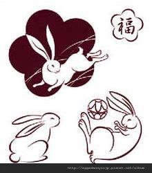 日本福氣兔子水晶印章260