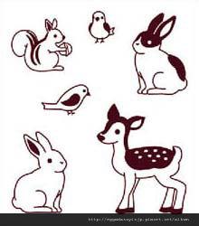 可愛兔子+小路班比+松鼠+鳥水晶印章260