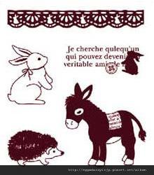 可愛兔子+爐子+刺蝟水晶印章260