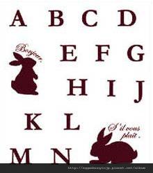 兔子英文字母AZ水晶印章260