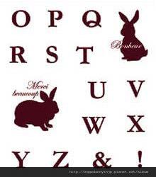 兔子英文字母OZ水晶印章260