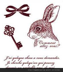 兔子鑰匙蝴蝶結英文字母水晶印章260