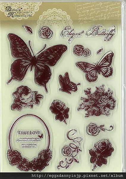 蝴蝶翩翩飛水晶印章890