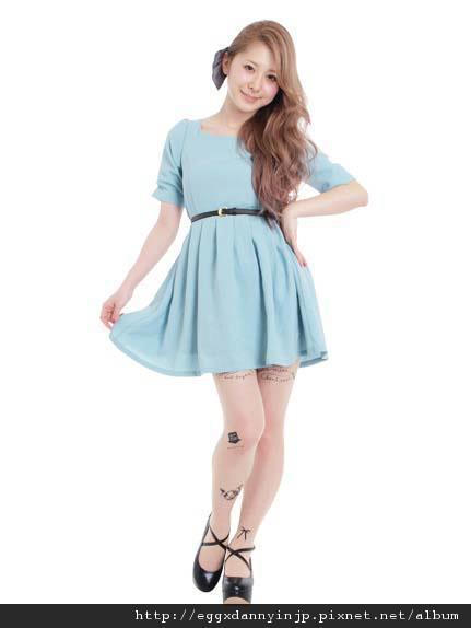 dazzlin五分袖付皮帶洋裝