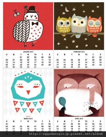 2013有趣的自製貓頭鷹主題月曆網站分享