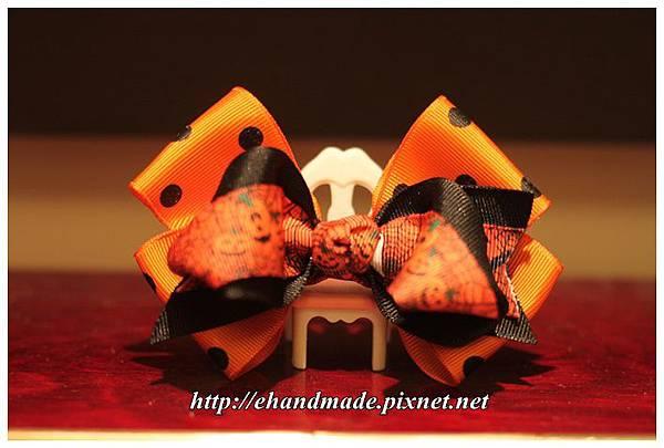 萬聖節雙耳燕尾佐黑點橘立體蝴蝶結