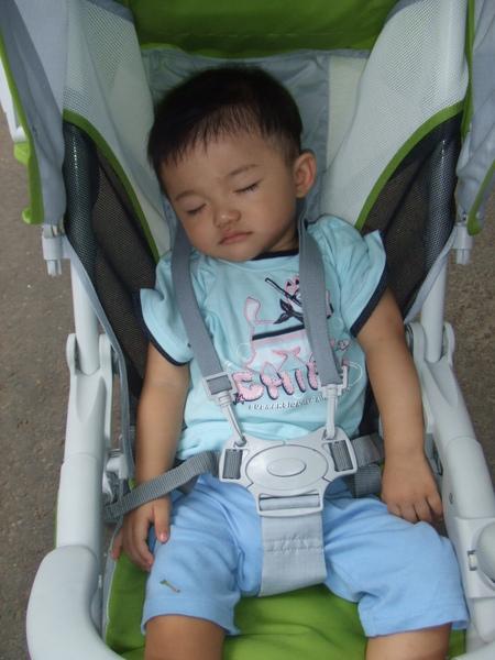 小JJ六點多就起床了, 10點多到達百吉隧道, 他已經睡著了!