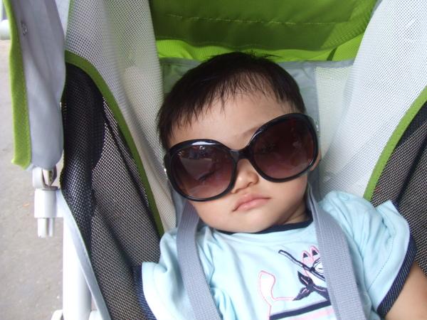 媽咪說我是小帥哥,睡覺也要帥帥的睡,戴個墨鏡遮太陽吧!
