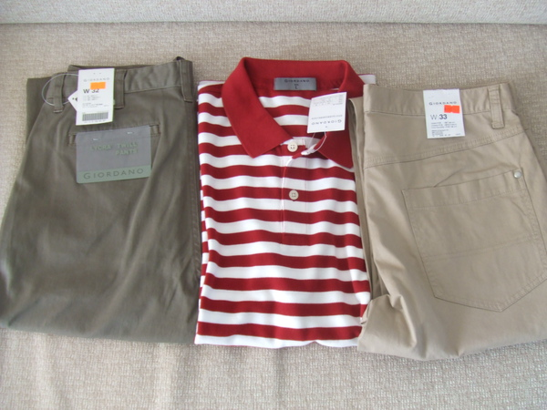 佐丹奴戰利品, 左邊褲子是老爸的, 中間的條紋polo衫和右邊的褲子是老公的!