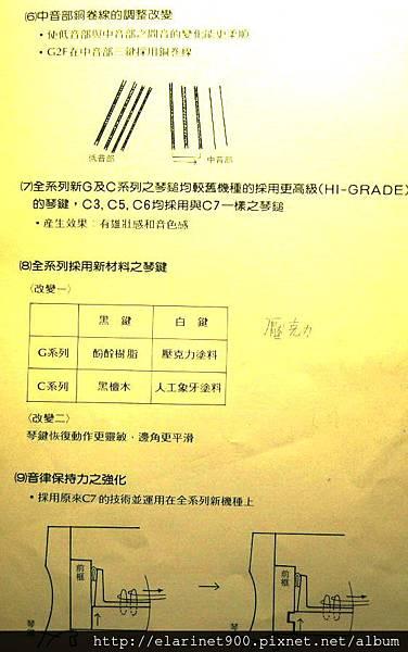 山葉平型鋼琴C型與G型之差異3