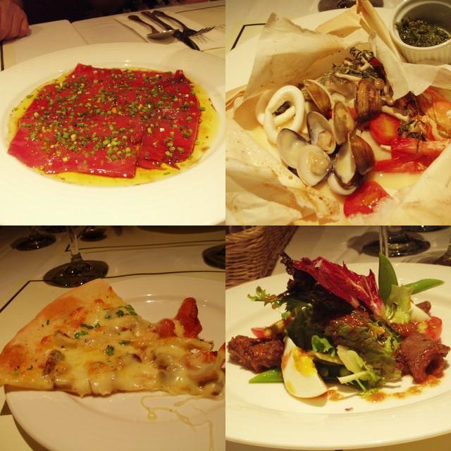 左上: 黑鮪魚片 右上: 清蒸海鮮 左下:培根蘑菇pizza 右下: 蔬菜沙拉