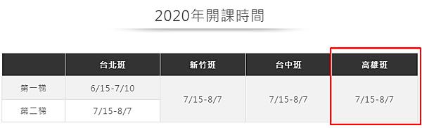高雄sat課程2020年課表