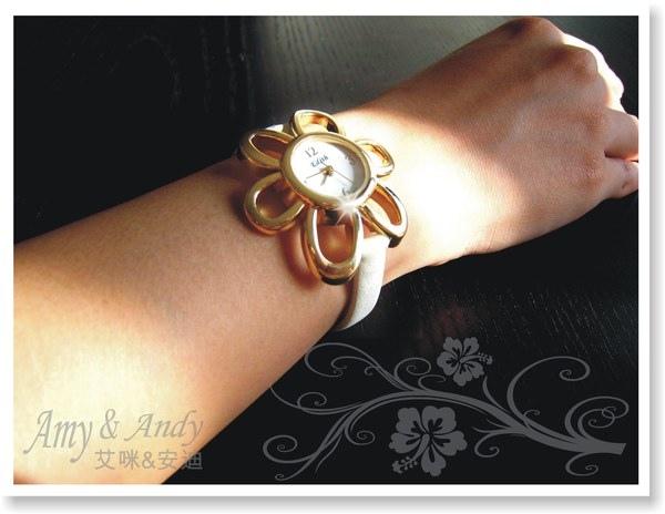 花花公主 立體花朵麂皮腕錶《香檳金》3.jpg
