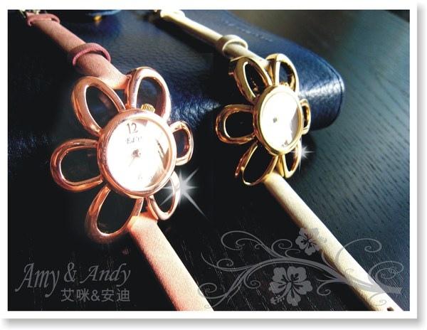 花花公主 立體花朵麂皮腕錶《玫瑰金》1.jpg