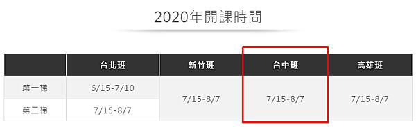 2020年台中sat開課計畫